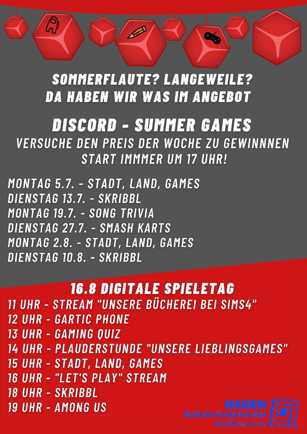 Summer Games der Stadtbücherei auf Discord